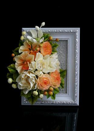 Подарочное декоративное панно с цветами ручной работы.