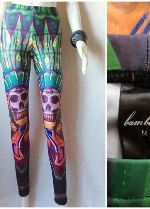 Bam bam стильные яркие лосины принт этно леггинсы