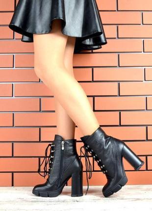 Натуральная кожа эффектные кожаные ботильоны на высоком каблуке