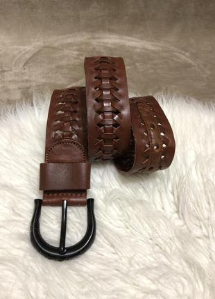 Женский шикарный кожаный плетеный ремень пояс lauren ralph lauren