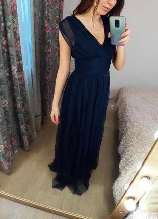 Синее шифоновое платье в пол