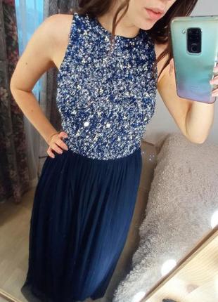 Синее платье с паетками в пол вечернее