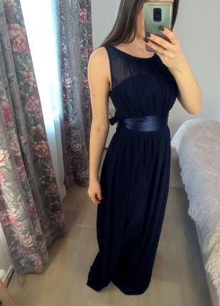 Синее вечернее платье в пол шифон