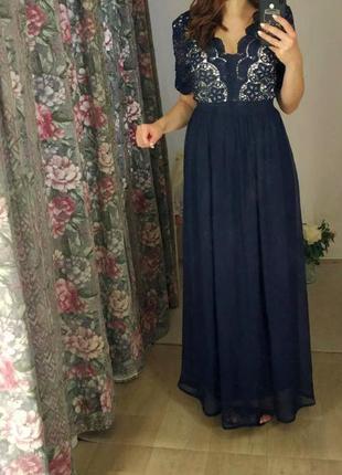 Сукня в пол . платье синее в пол