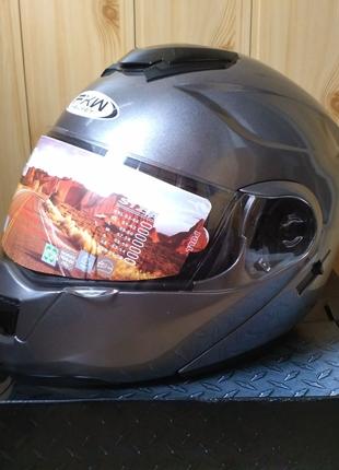 58-60см, Шлем мото,  интеграл шолом, модуляр, трансформер, серый