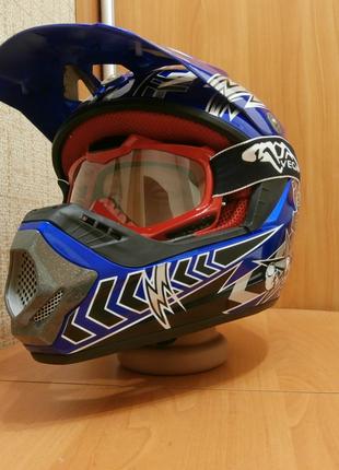 57-59см, Мото шлем кроссовый,  эндуро шолом, интеграл, синий.