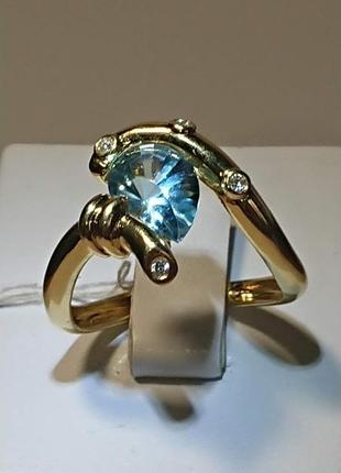 Стильное кольцо топаз и бриллиант золото 750 17,5р (видео)