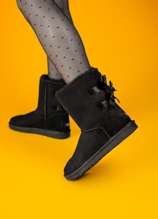 😍ugg bailey bow ii black💖замшевые женские зимние чёрные угги\у...