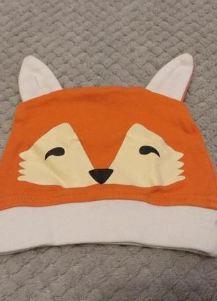 Шапка шапочка для новорожденных лис лисёнок оранжевый