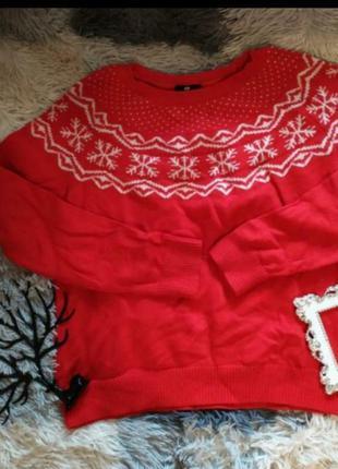 Светр свитер шерсть снежинки рождество новогодний яркий красный