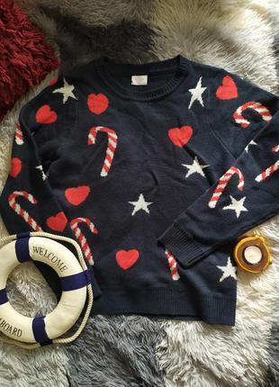 Светр свитер рождество новогодний кофта сердечки конфеты зимний