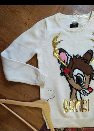 Светр свитер кофта рождество белый базовый олень дисней