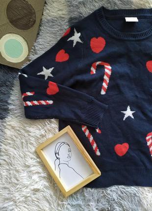 Светр свитер оверсайз кофта рождество яркий