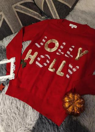Светр свитер яркий рождество красный рождество праздник
