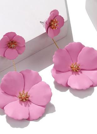 Серьги розовый цветок 2 способа ношения гвоздики и длинные серьги