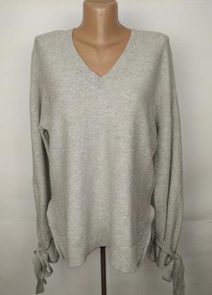Серый стильный свитер кофта с завязками на рукавах шерсть mark...