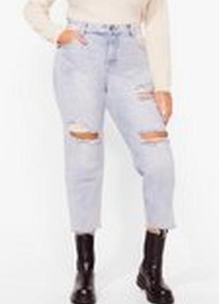 Джинсы nasty gal, shred over heels distressed jeans, размер 14/42