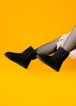 💎угги зимние💎 женские чёрные кожаные уги ugg classic short black.