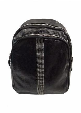Городской черный рюкзак кожзам