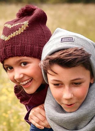 Яркий вязаный комплект для девочки шапка+снуд от тсм tchibo (ч...