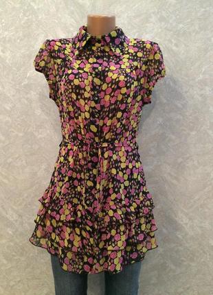 Блузка туника  в цветы с рюшами glem