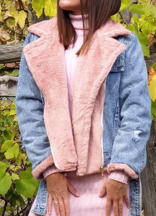 Джинсовая куртка мех кролика