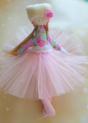 Кукла ручной работы. балерина в розовом. высота 25см