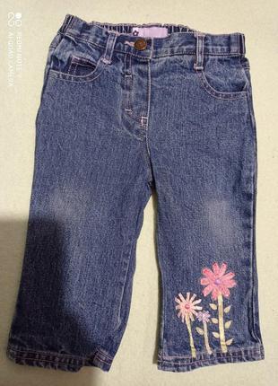 Джинсовые штаны 9-12 мес с вышивкой лентами хлопок 💯. jac jnr