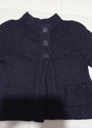 Теплое темно-синее болеро с альпакой 30   с рукавом реглан  to...