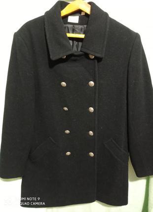 Новое супер стильное, модное двухбортное базовое чёрное пальто...