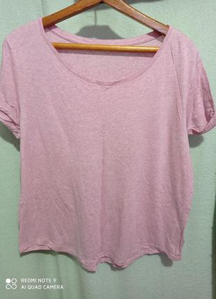 Нежно-розовая мягкая футболка хлопок модал