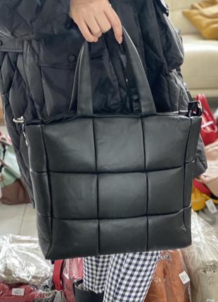 Фактурная кожаная сумка плетение мягкая  стеганая кожаная