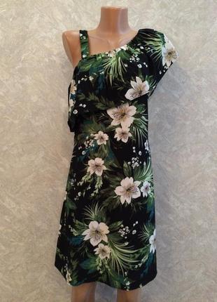 Платье с воланом на одно плечо в цветы peacocks