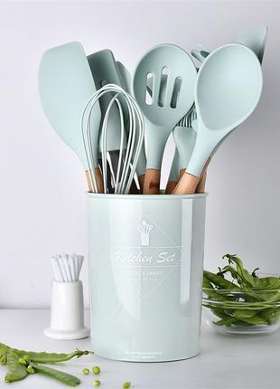 Набір силіконових кухонних приборів 12шт, лопатки ложки | Зелений