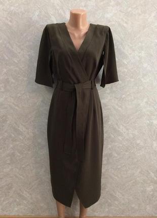 Платье с эффектом запаха цвета хаки asos