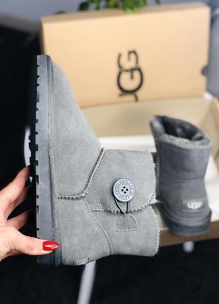 Женские зимние ботинки ugg mini bailey button grey
