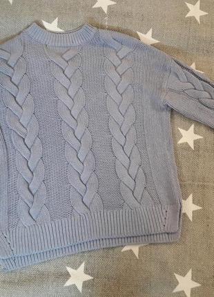 Вязаный свитер в косы. размер с