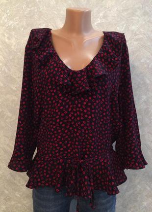 Блуза в принт  с воланами размер 16-18 topshop