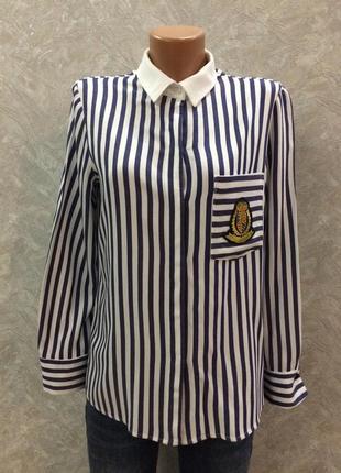 Рубашка в полоску с нашивкой zara