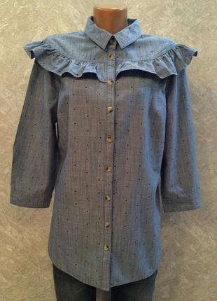 Блузка-рубашка котоновая  джинсовая  в мелкий горох с рюшей ра...