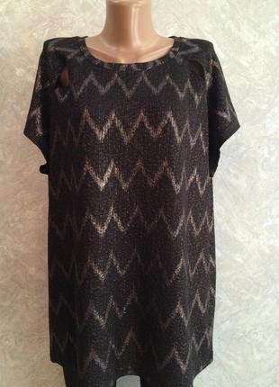 Блузка черная с серебристым размер 18-20 peacocks