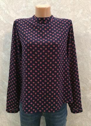 Блуза под горло гольф из креп шифона размер 10-12 atmosphere
