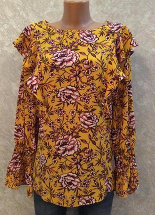 Блуза с воланами в цветы размер 16-18 peacocks
