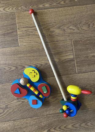 Деревянная игрушка каталка уточка логика бабочка пазлы геометрия