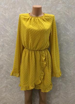 Платье  с широким рукавом и рюшами missguided