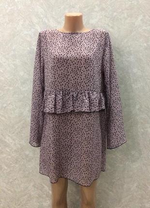 Туника шифоновая платье с рюшей