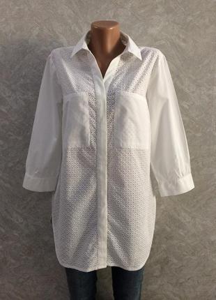 Блуза рубашка с прошвой