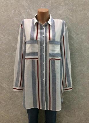 Рубашка удлиненная туника в полоску размер 12-14 new look