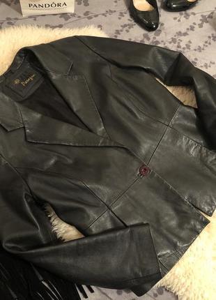 Крутая стильная кожаная куртка косуха на одну пуговку из натур...
