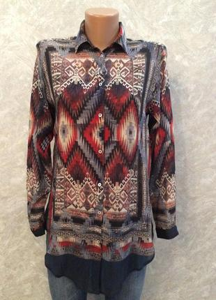 Блузка рубашка в орнамент  размер 6-8  zara